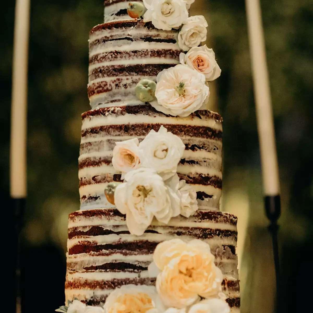 Tall naked chocolate cake