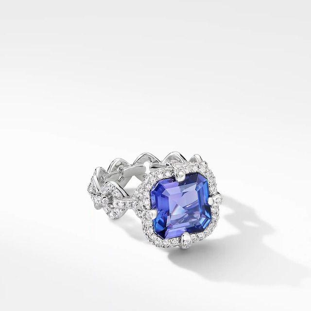 David Yurman Gems Tanzanite Ring in White Gold with Diamonds