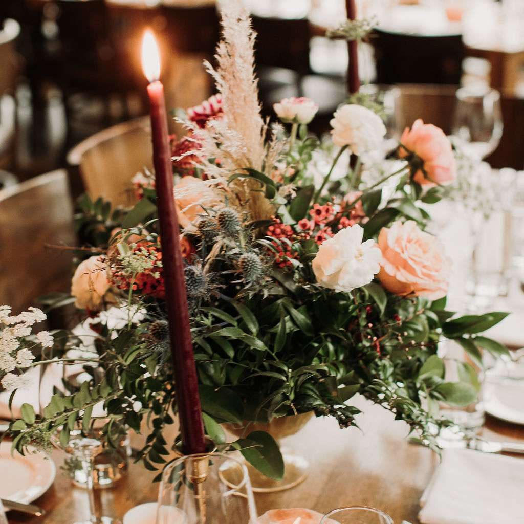 Centerpieces on reception tables