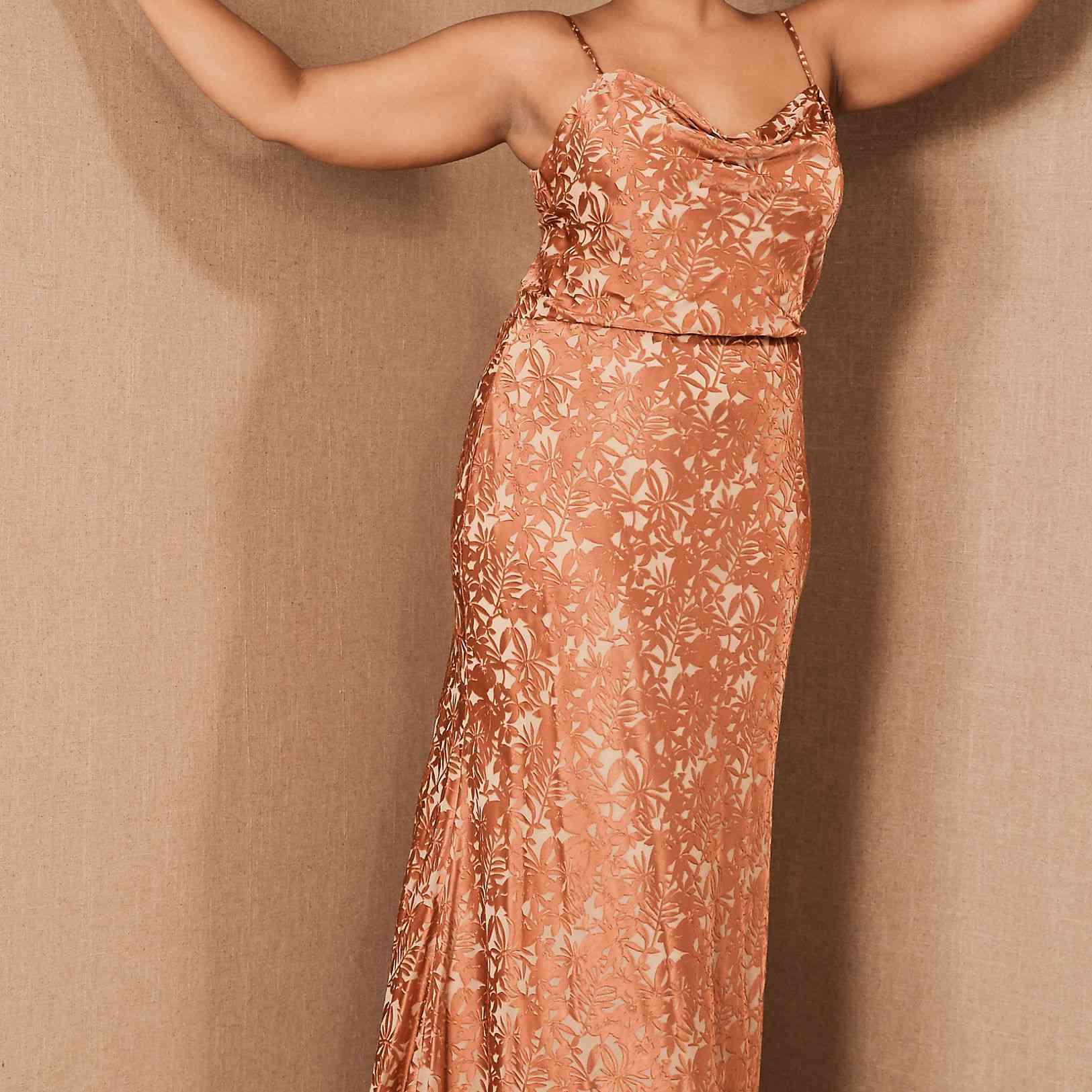 Jenny Yoo Dahlia Cowl Neck Dress, $325