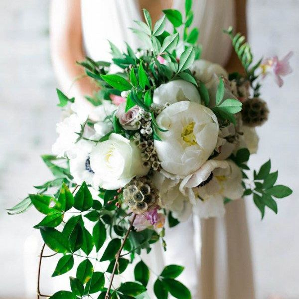 White Peony bouquet with greenery