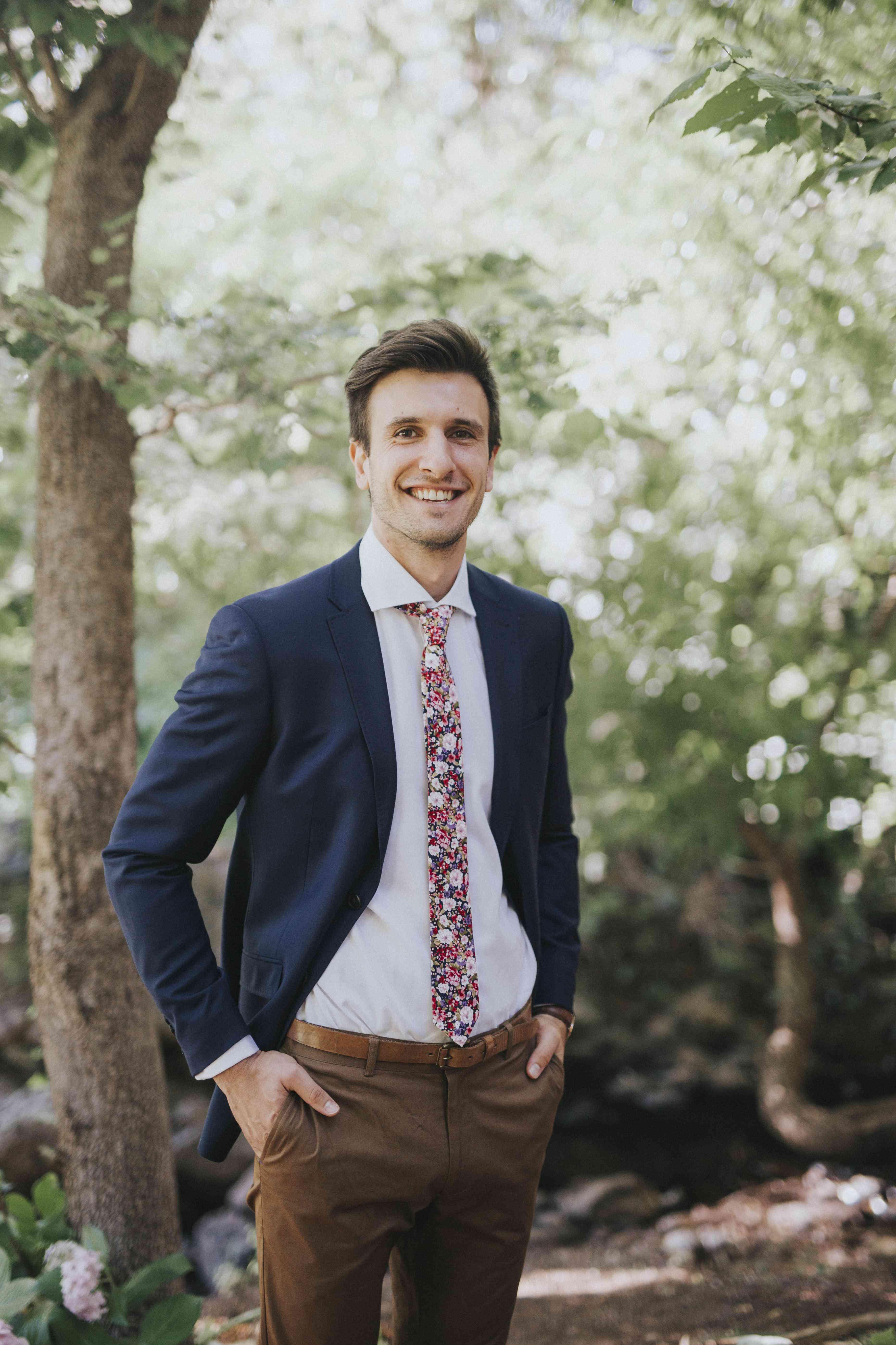 Groom in a floral tie