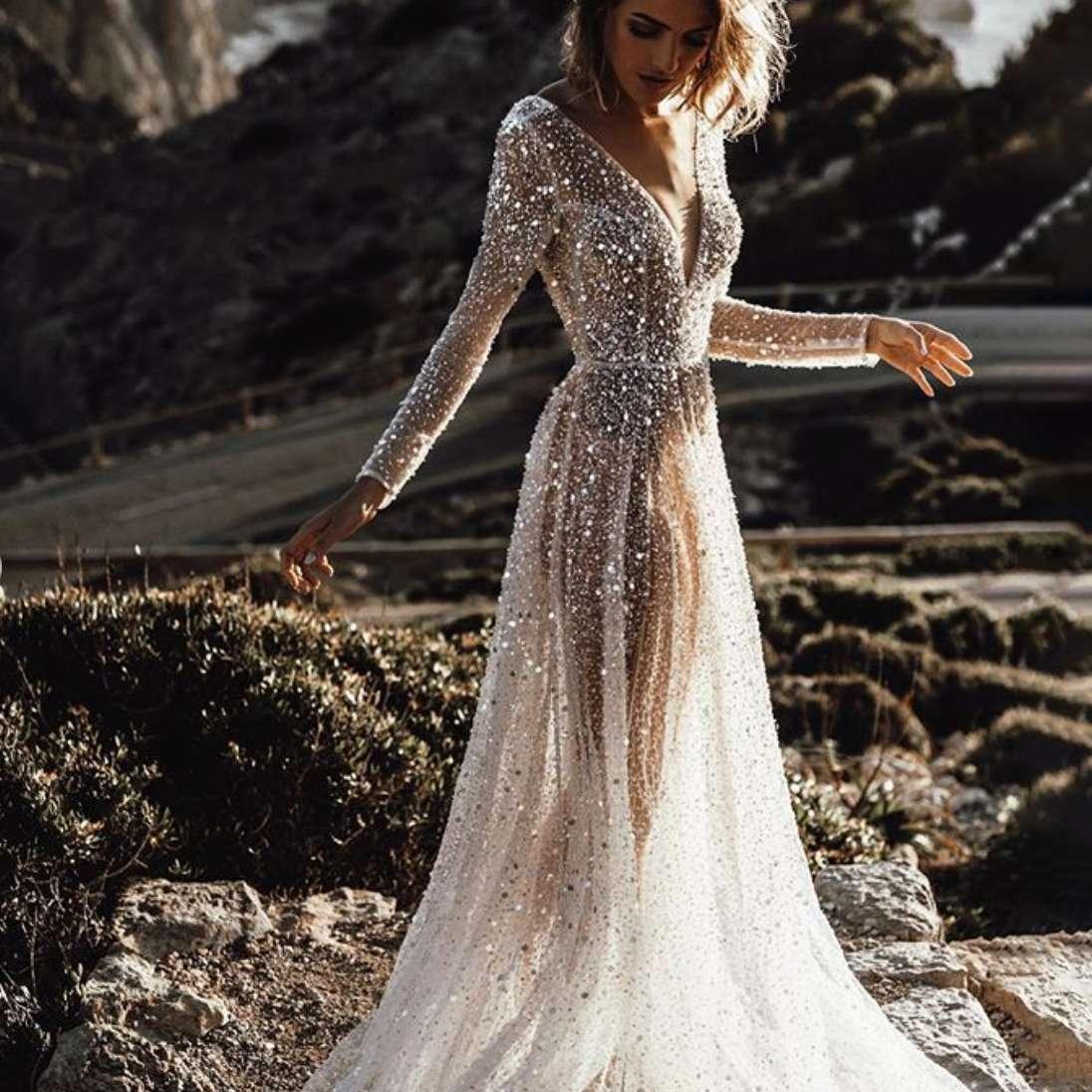 Floor Length Sequin Dress-PromGirl