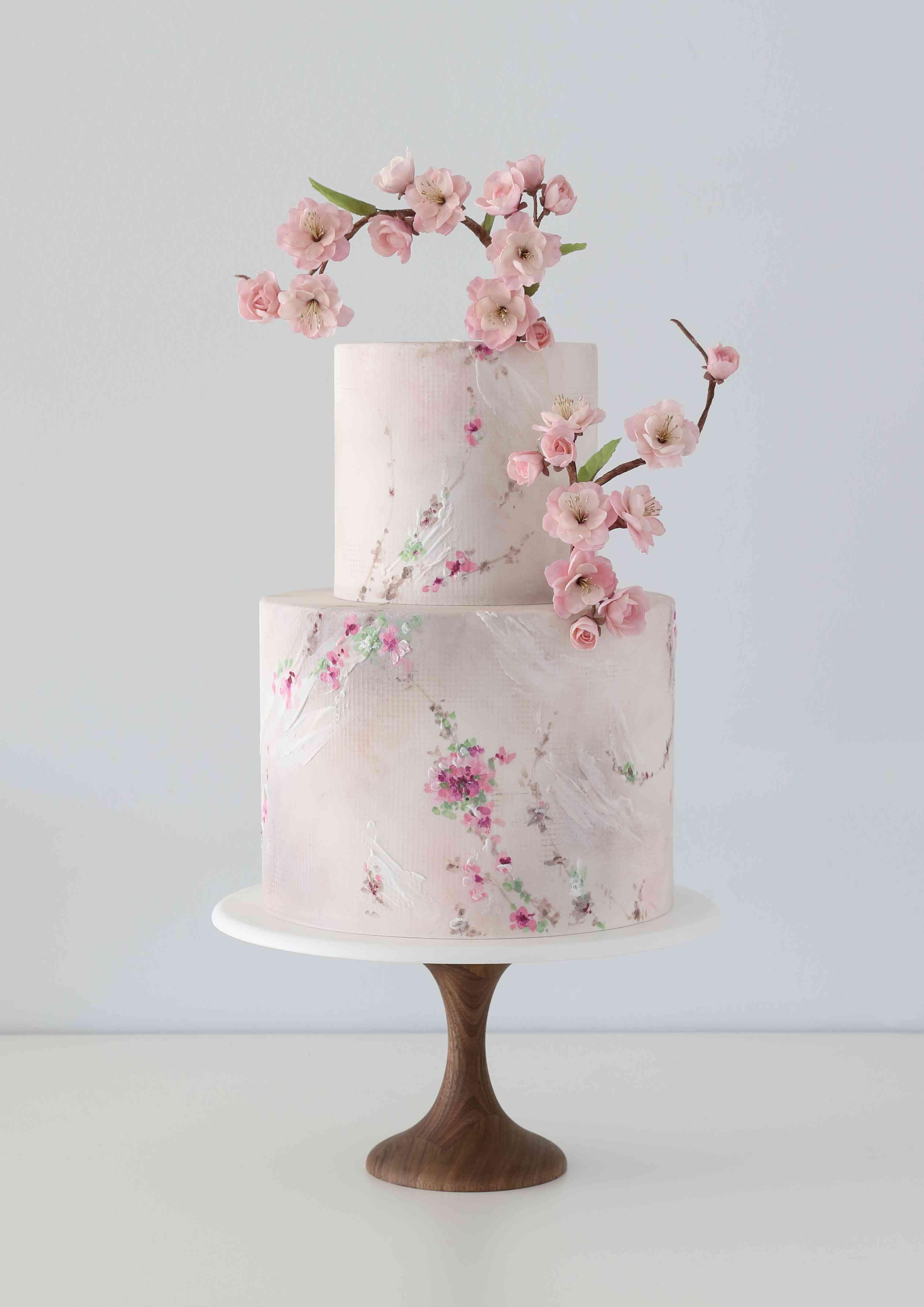 Handpainted cherry blossom cake