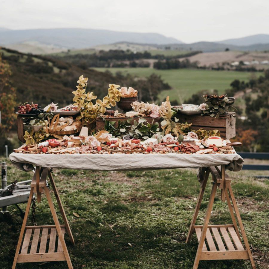 Grazing table set up with background view