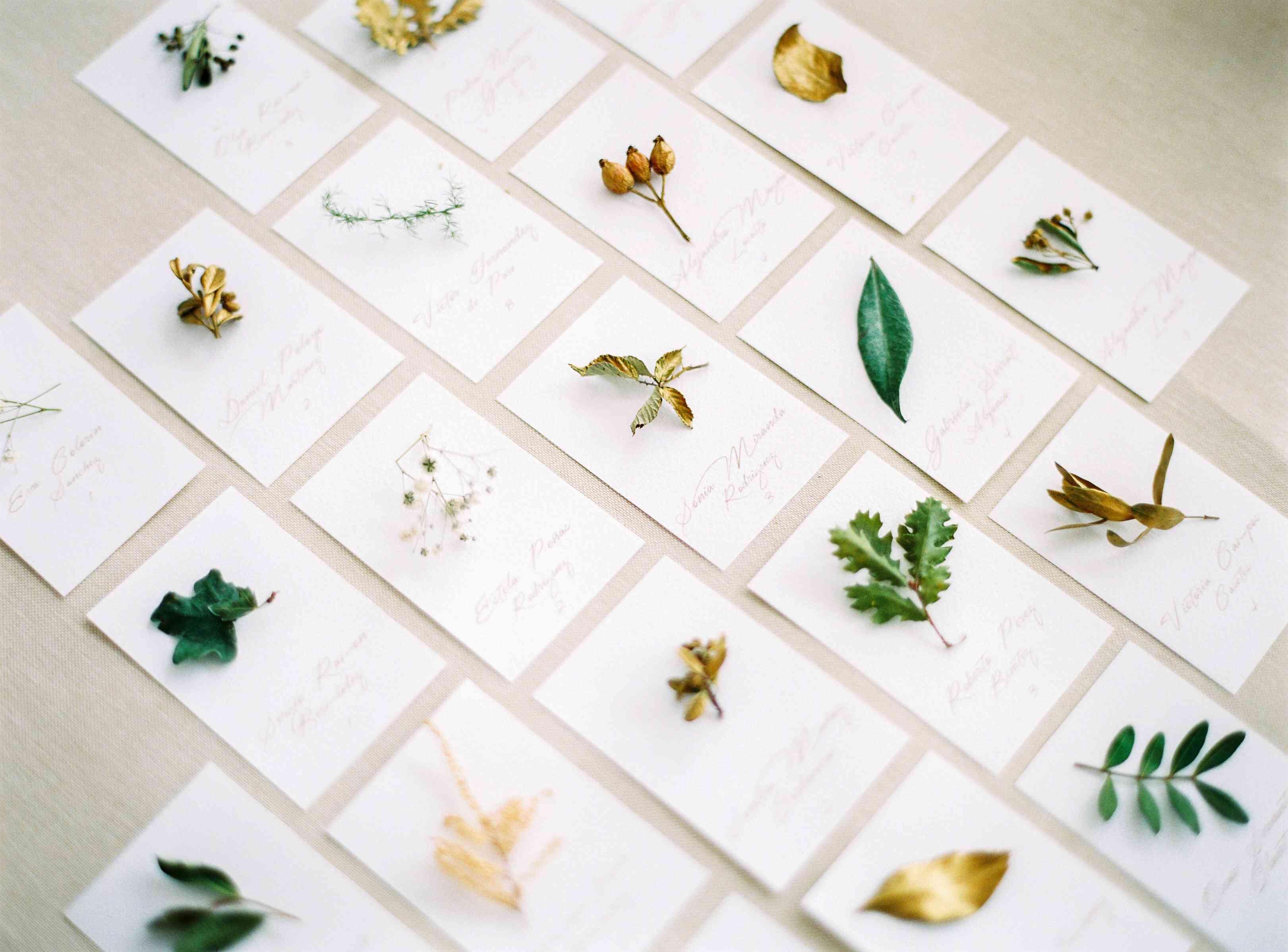 Wedding escort cards with leaf detail