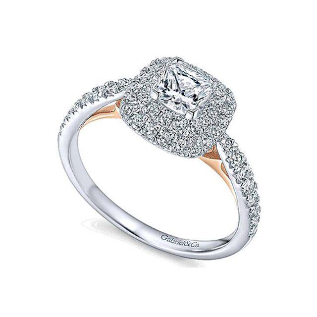 Gabriel & Co Cushion Double Halo Diamond Engagement Ring