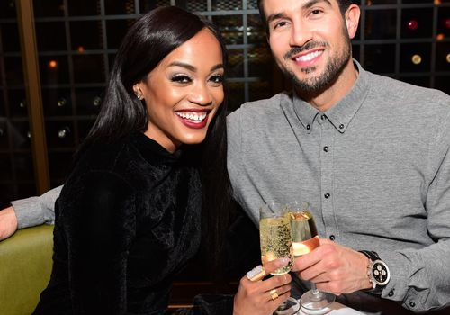 <p><p><p><p>The Bachelorette's Rachel Lindsay toasts on her birthday with her fiancé Bryan Abasolo.</p></p></p></p>