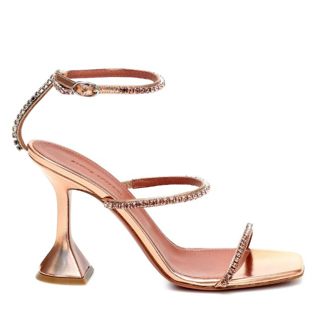 Strappy open-toed rose gold sandals with crystal straps and a martini glass shaped heel