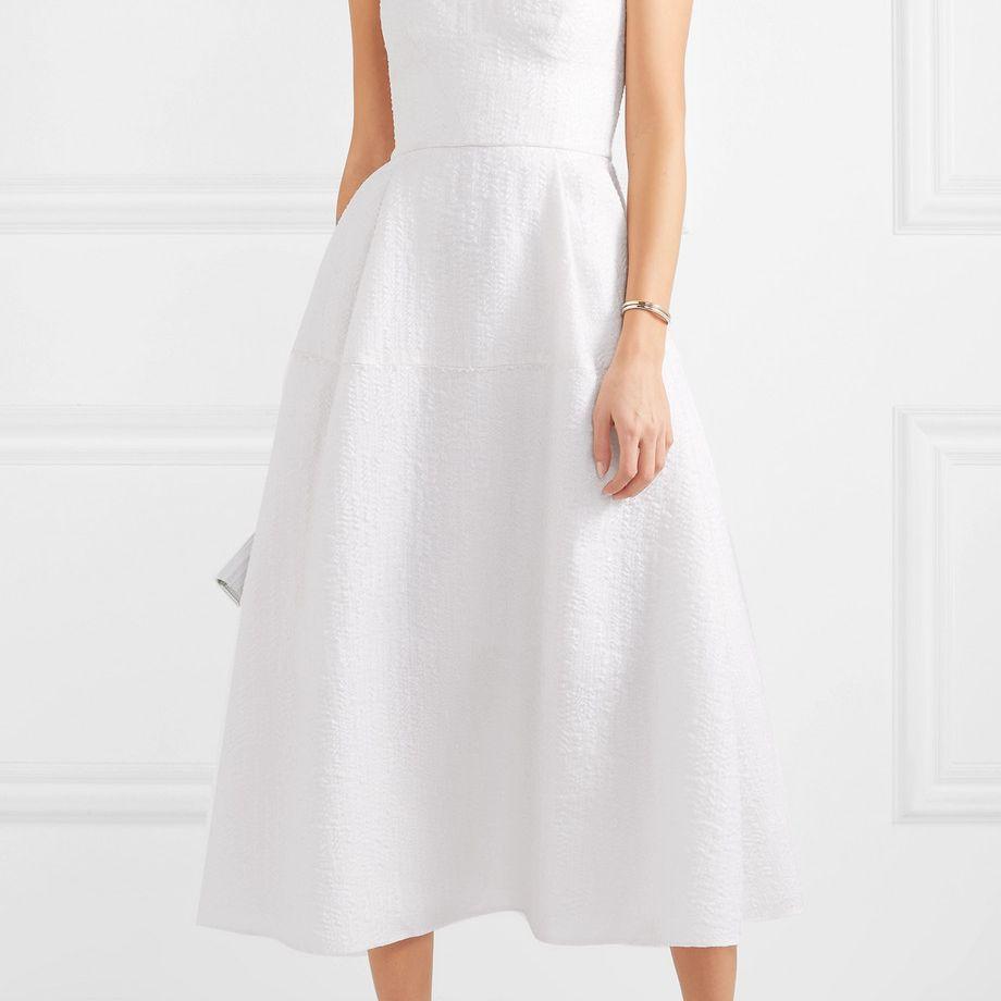 Roland Mouret Aldrich Strapless Frayed Cloqué Midi Dress $3,775