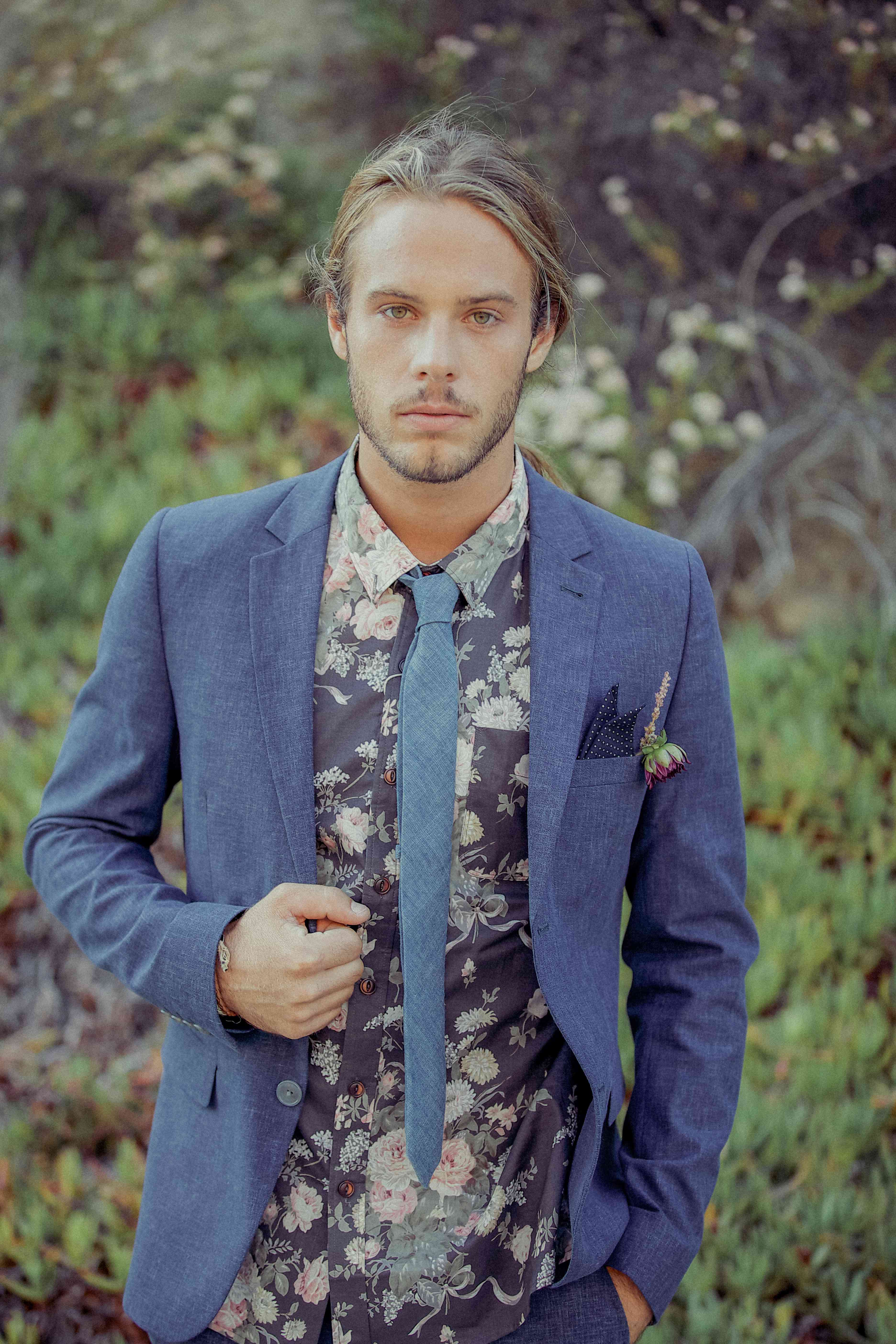 Groom in a floral shirt