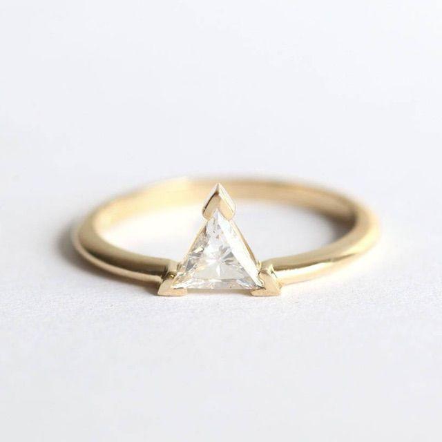 Capucinne Trillion Diamond Engagement Ring, Diamond Engagement Ring