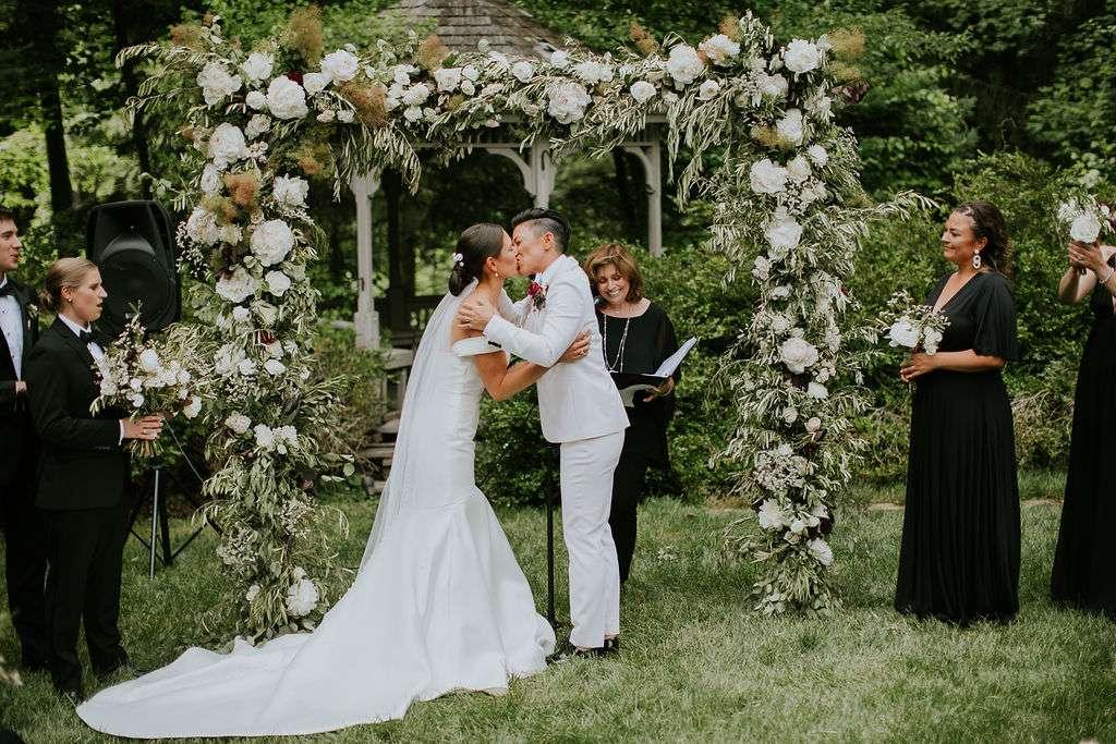 The couple share a kiss