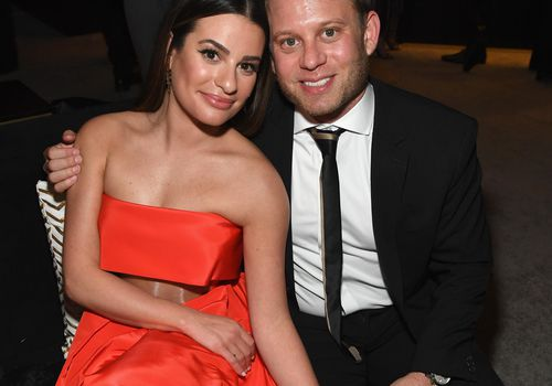 <p>Lea Michele and Zandy Reich attend a Golden Globes party.</p>
