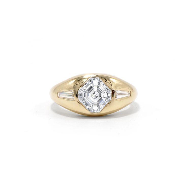 Asscher Cut Gypsy Engagement Ring