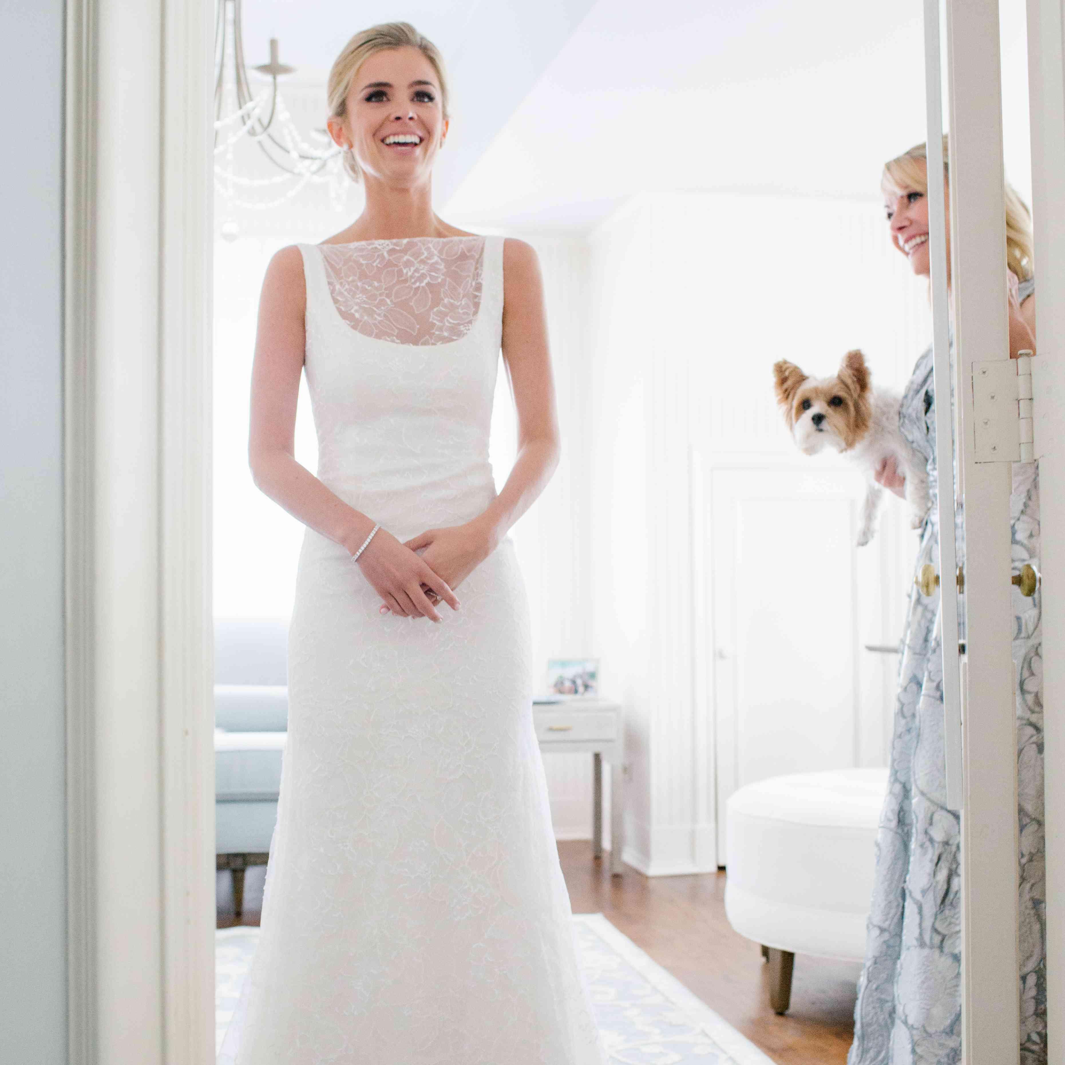 bride illusion neckline wedding dress