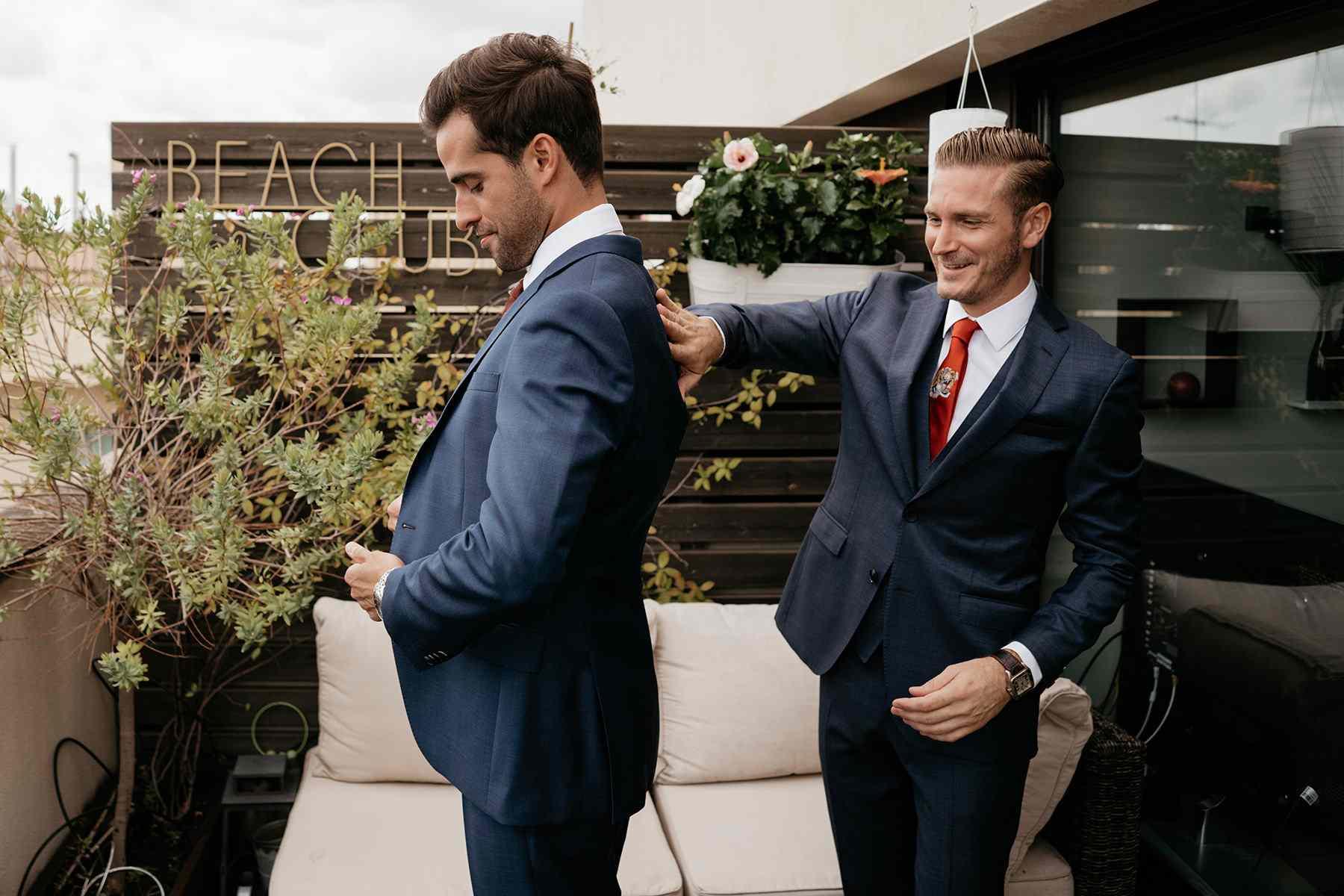 grooms getting dressed