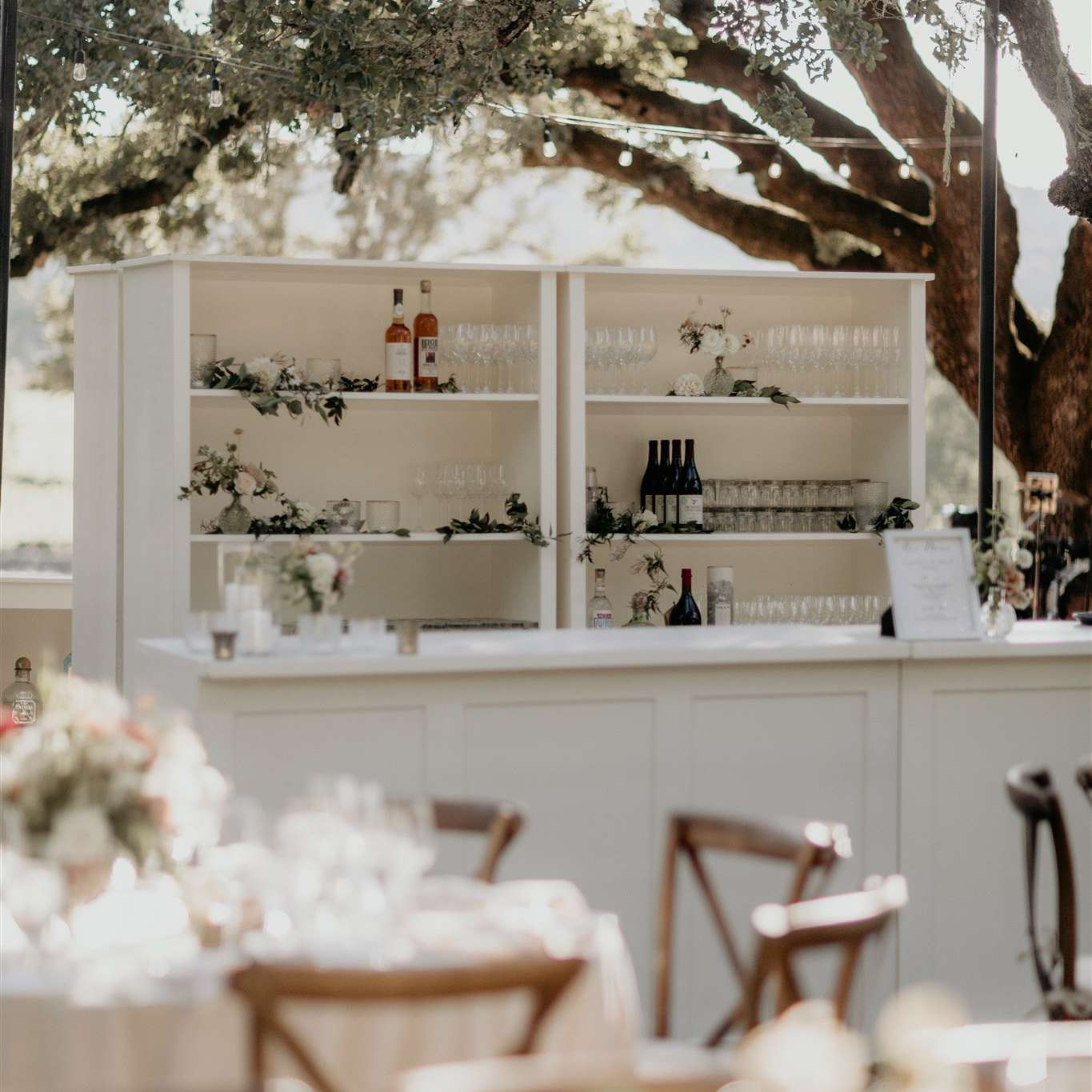 outdoor bar in white cabinets