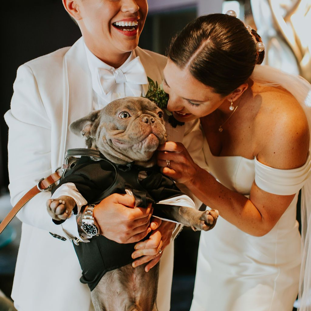 The brides and their dog Otto