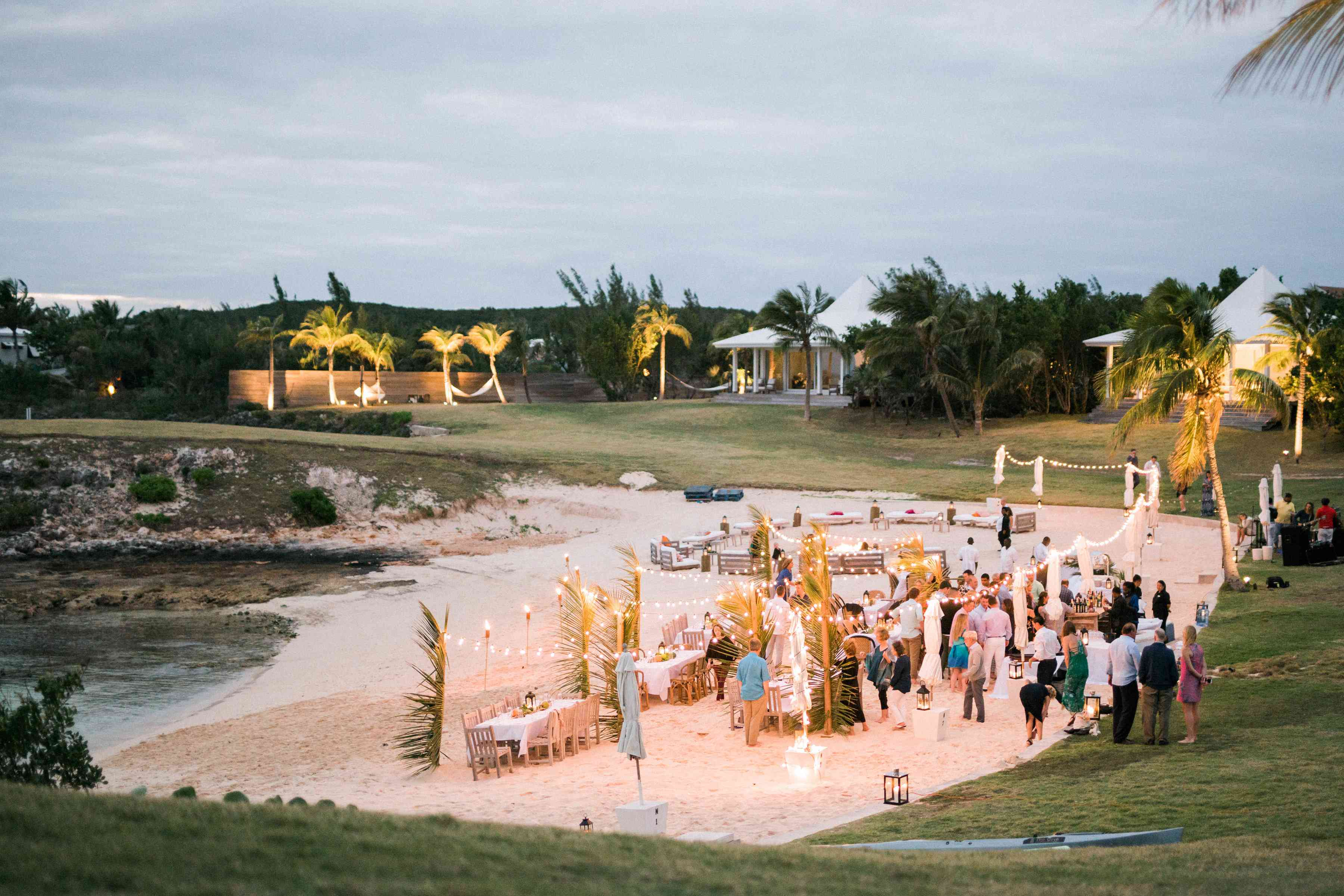 A view of a welcome dinner on the beach at the Cove, Eleuthera
