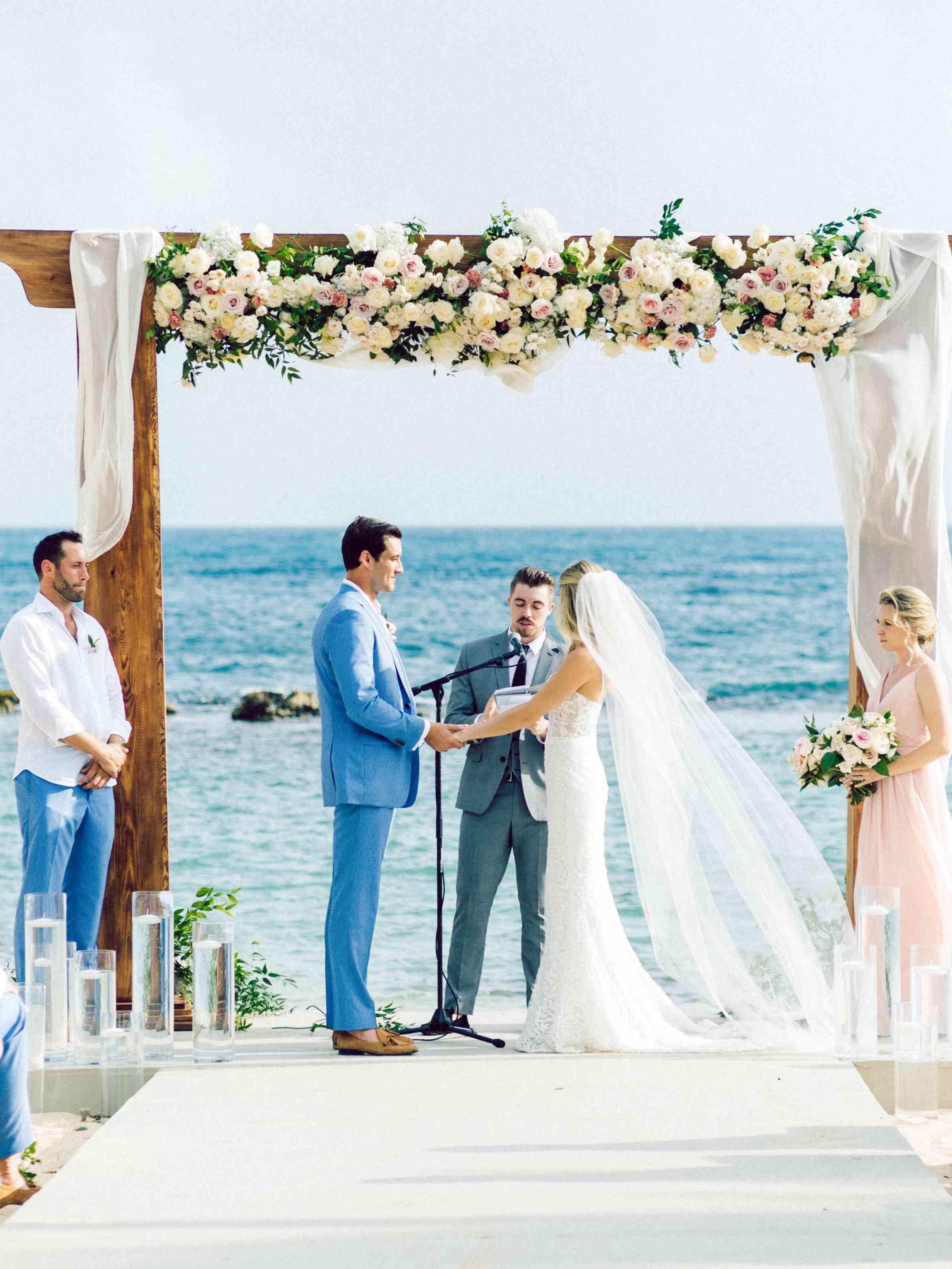 ocean front ceremony floral altar
