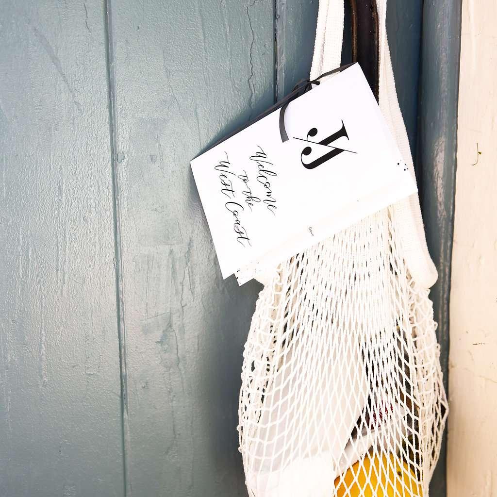 minimalist california celebration, welcome bags