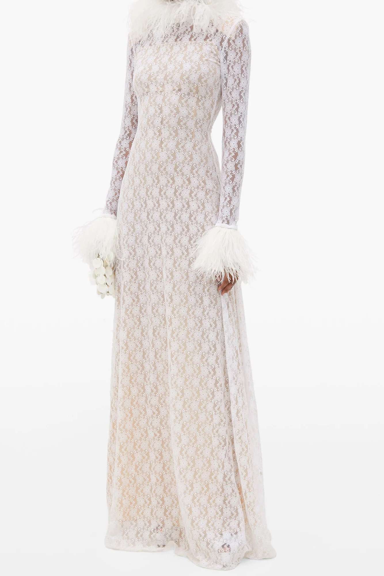 Feather-trimmed Chantilly-lace gown