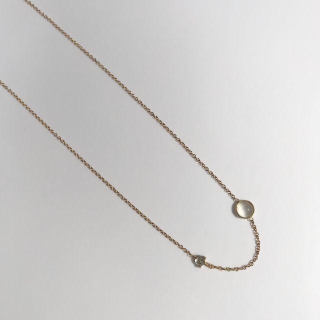 A.M. Thorne White Moonstone + Salt + Pepper Diamond Necklace