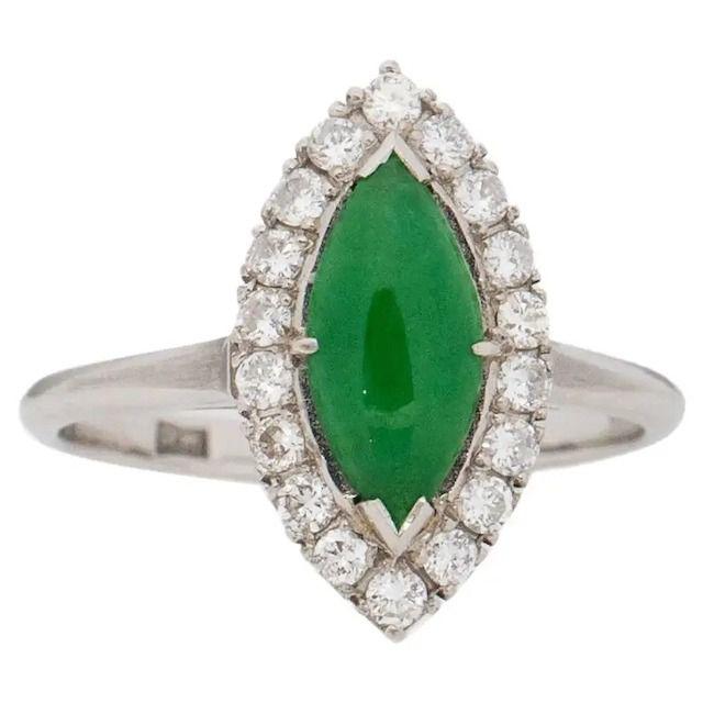 1st Dibs Retro Platinum Jade and Diamond Halo Marquee Ring