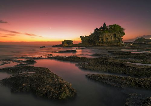 Sunset at Tanah Lot, Bali, Indonesia.
