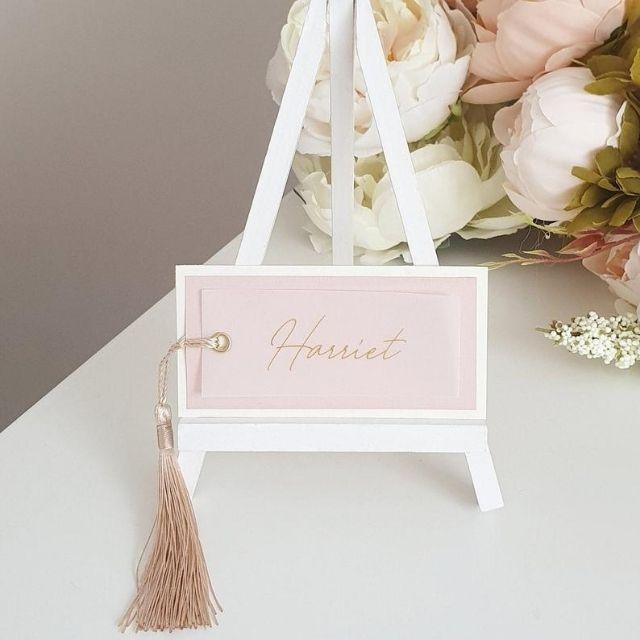 Tropical Leaf Design Place Card Baby Shower Rose Gold Design Wedding Place Card Custom Name Place Card Layered Design Place Card