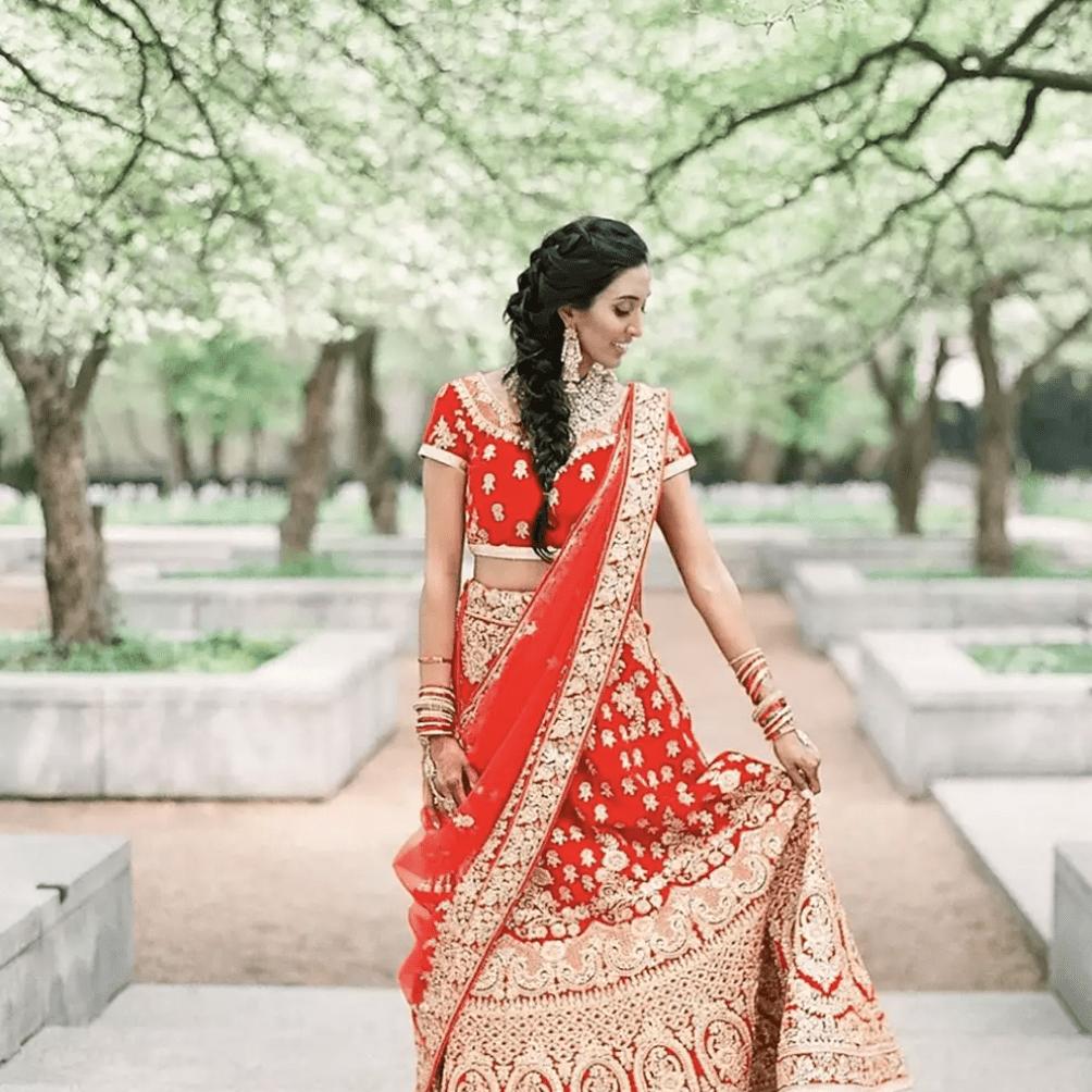 Bride with side-swept braid