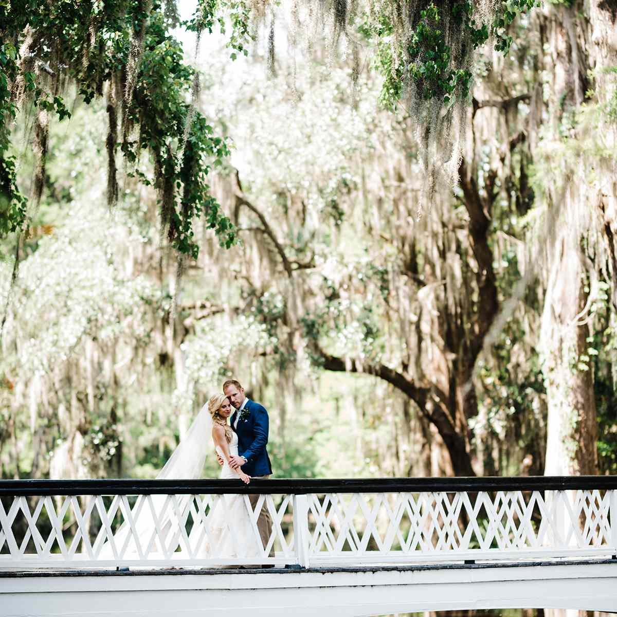 <p>Wedding photo at Magnolia Plantation in South Carolina</p>