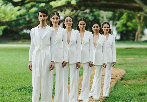 <p>white suits</p>