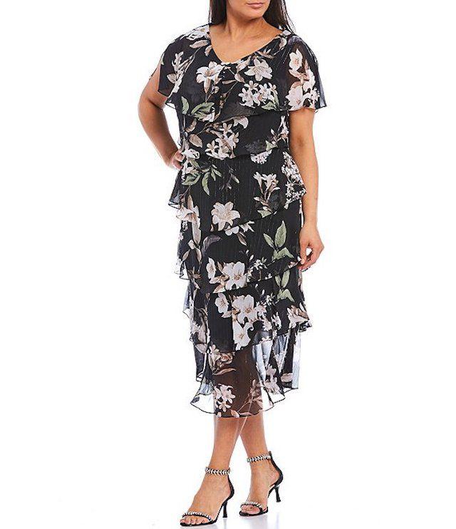Ignite Evenings Plus Size Tiered Floral Chiffon V-Neck Short Sleeve Midi Dress, $129