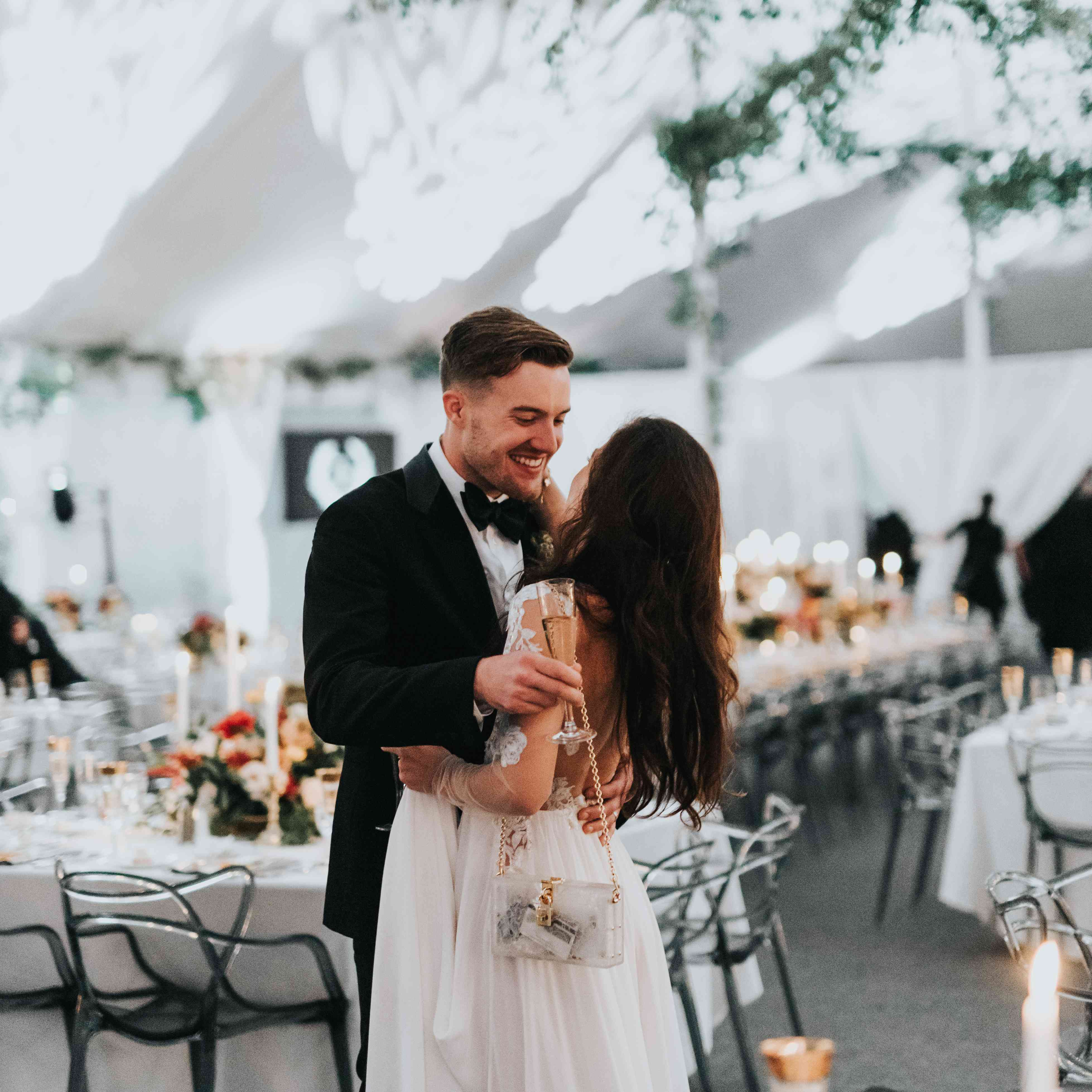 personalized michigan wedding, bride and groom at reception