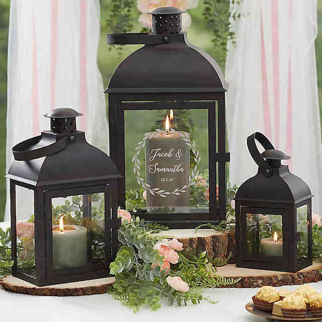 Laurels of Love Personalized Lantern Set