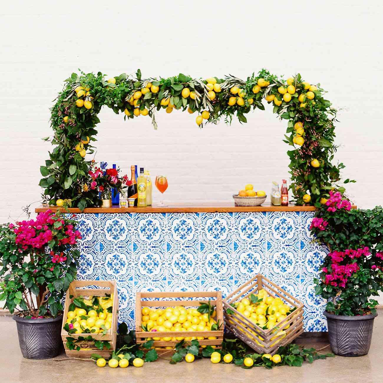 Colorful mediterranean bar with lemons