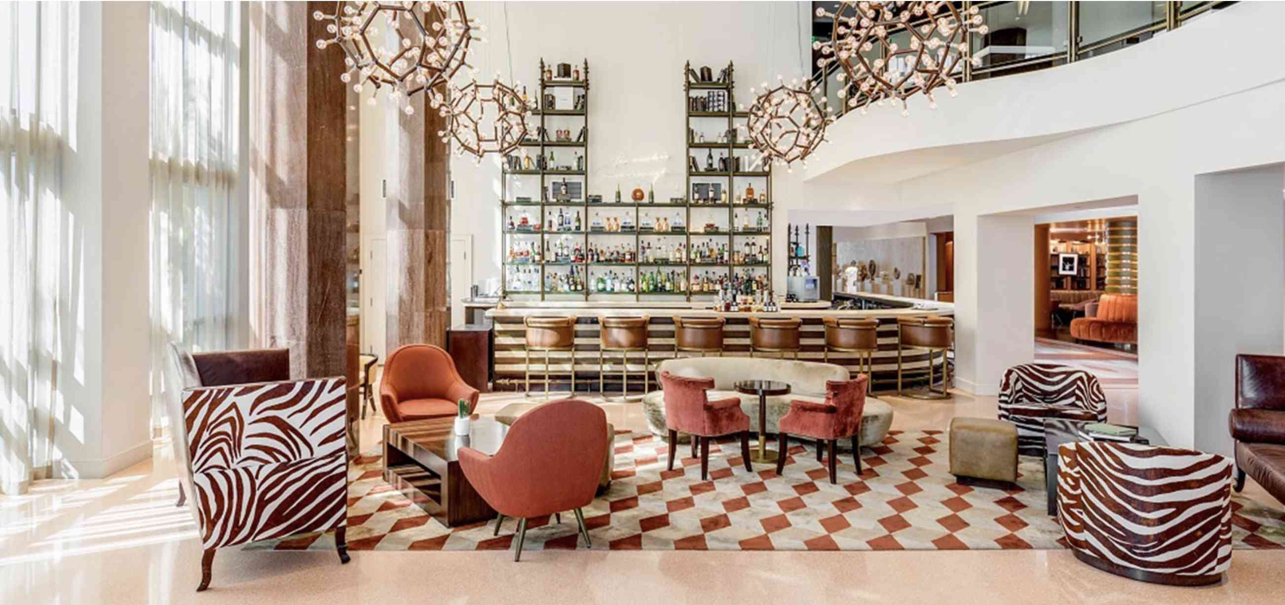The art deco bar and lounge at Shelborne South Beach