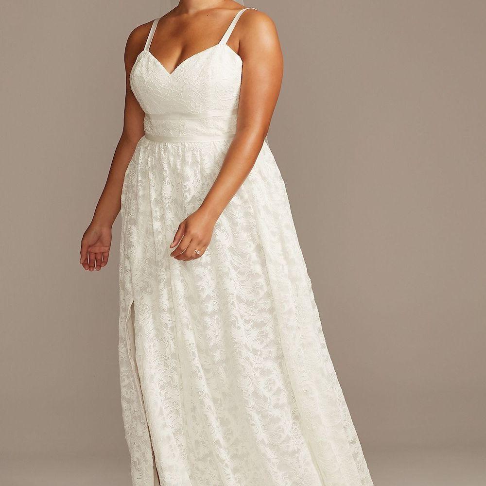 Melissa Sweet Grosgrain Banded Lace Plus Size Wedding Dress