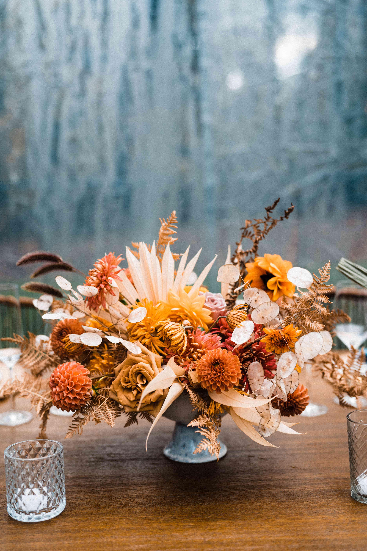 textured fall floral centerpiece