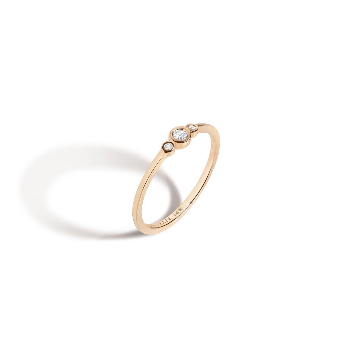 AUrate Three Stone Diamond Bezel Ring