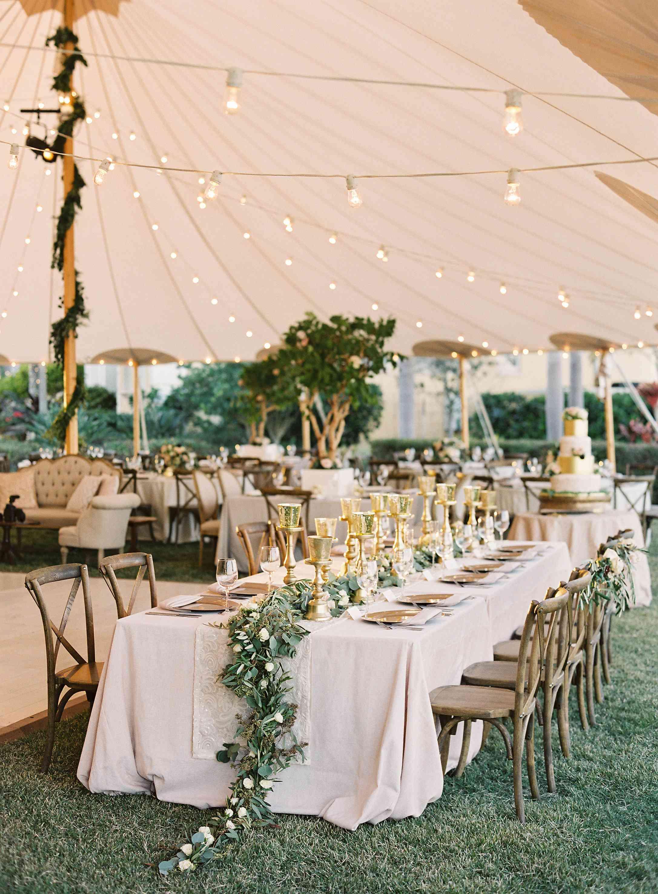 A wedding reception table setup