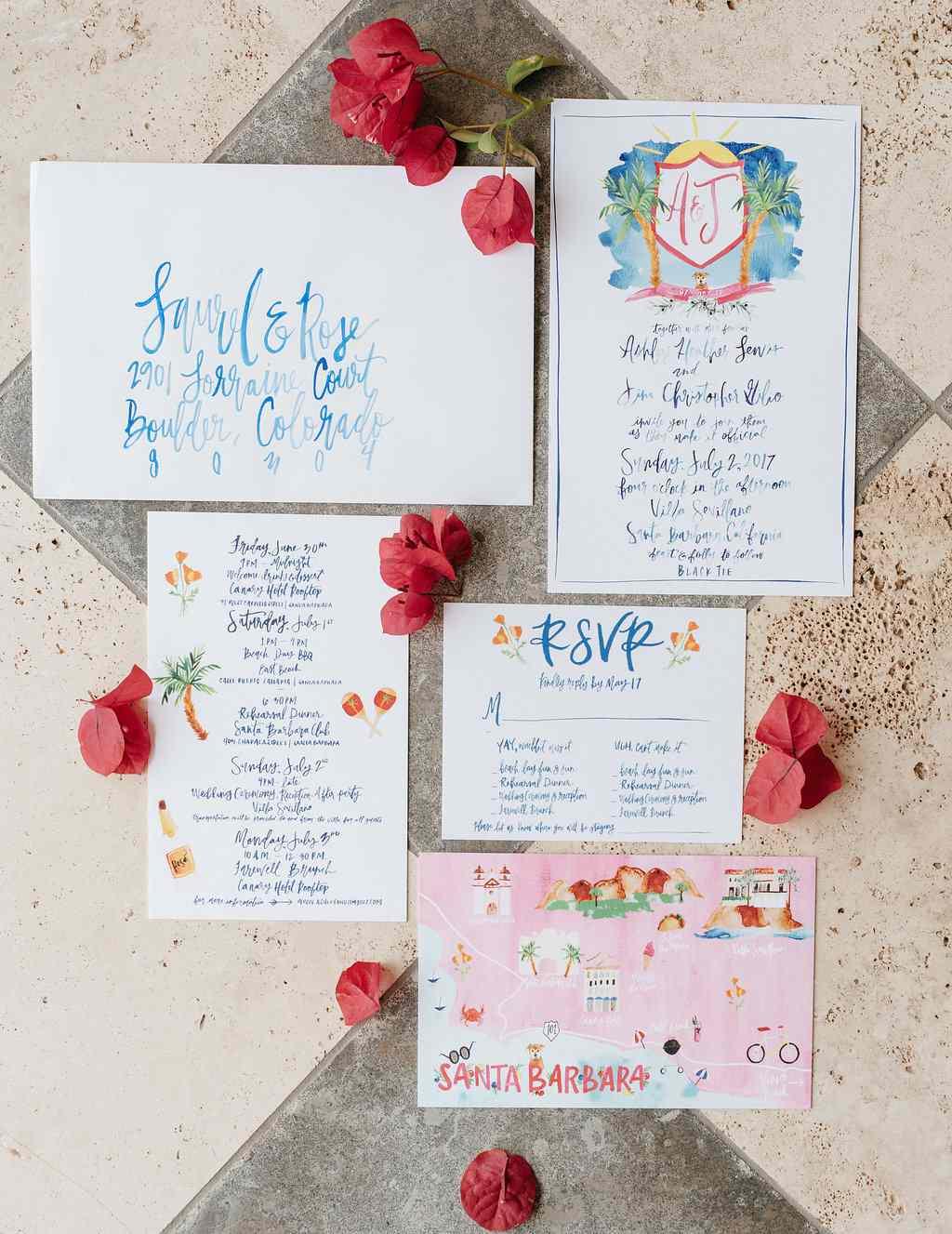 <p>Colorful wedding invitations</p>