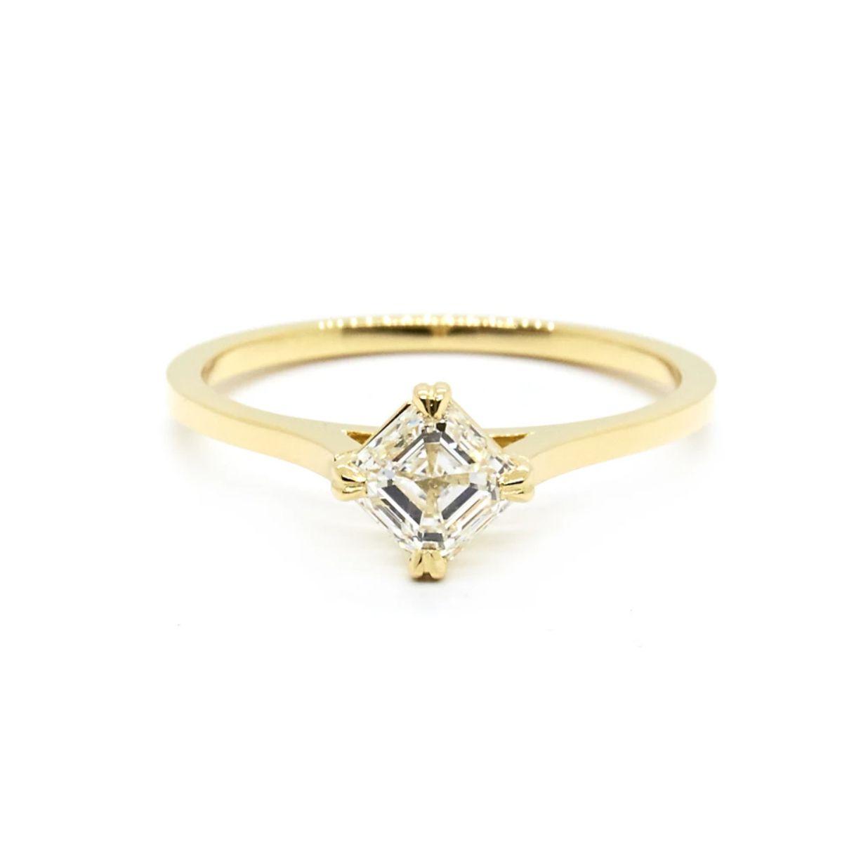 Natalie Marie Asscher Cut Diamond Solitaire Ring