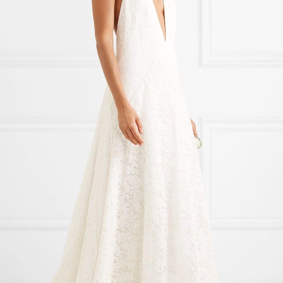 Michael Lo Sordo Alexandra Silk Guipure Lace Gown $1,400