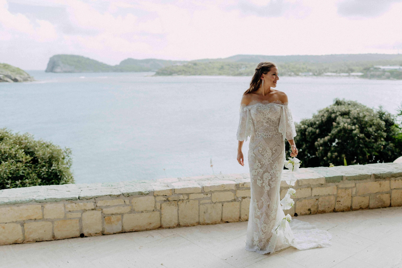 bride off-the-shoulder dress
