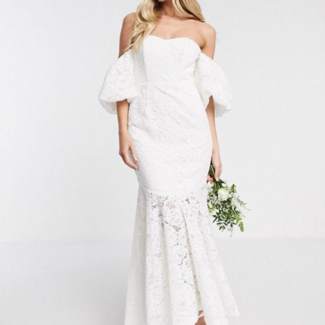 ASOS EDITION Chelsea Off Shoulder Lace Wedding Dress $214
