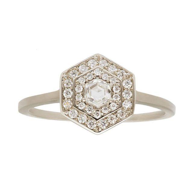 Art Deco Double Halo Hexagon White Diamond Ring