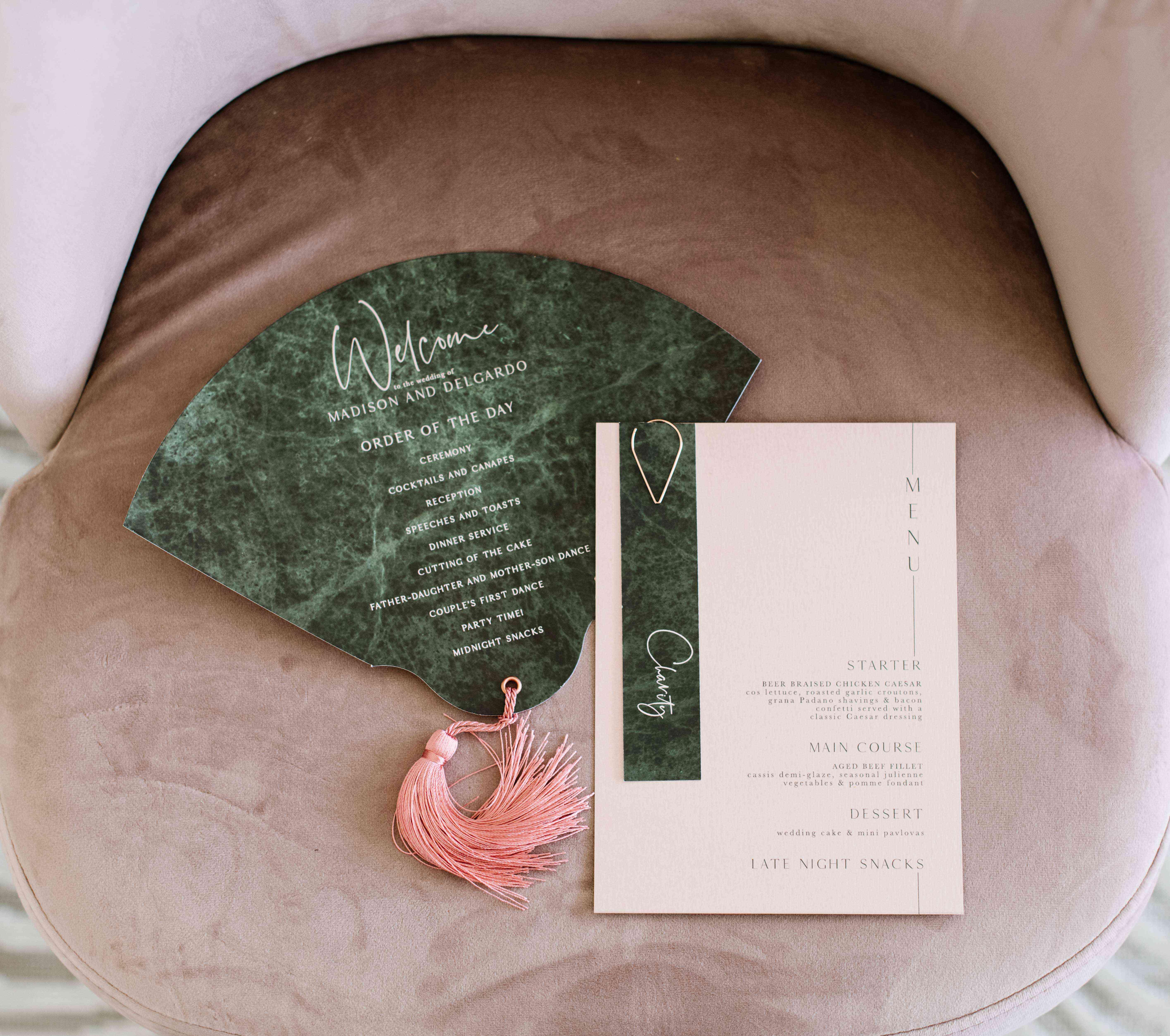 green marble ceremony program fan
